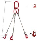 33948411 Zawiesie linowe trzycięgnowe miproSling HE 36,0/26,0 (długość liny: 1m, udźwig: 26-36 T, średnica liny: 40 mm, wymiary ogniwa: 350x190 mm)