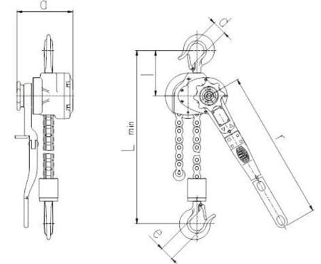 DOSTAWA GRATIS! 22021343 Wciągnik dźwigniowy, rukcug z łańcuchem sworzniowym RZV/6.3t (wysokość podnoszenia: 3m, udźwig: 6,3 T)