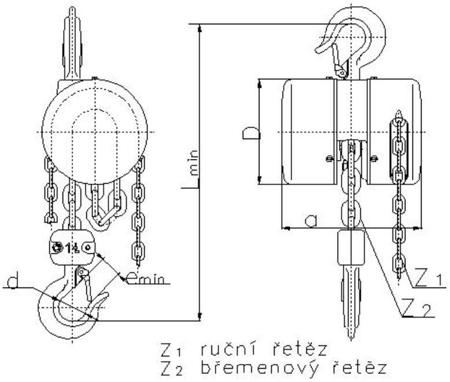 DOSTAWA GRATIS! 2209152 Wciągnik łańcuchowy z przekładnią planetarną Z100/0.5t (wysokość podnoszenia: 6m, udźwig: 0,5 T)