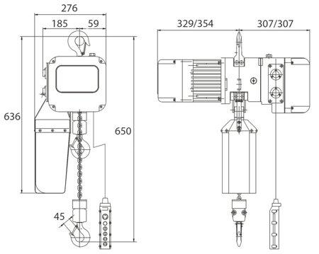 DOSTAWA GRATIS! 32268927 Elektryczna wciągarka łańcuchowa hakowa Unicraft (udźwig: 2 T, wysokość podnoszenia: 6m)