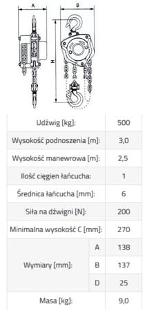 DOSTAWA GRATIS! 33948573 Wciągnik łańcuchowy ze stali nierdzewnej inox SBE INOX 0,5 3m (udźwig: 500 kg, wysokość podnoszenia: 3 m)
