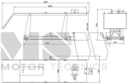 DOSTAWA GRATIS! 45674750 Podnośnik motocyklowy (udźwig: 450 kg, wymiary platformy: 2200x680 mm, wysokość podnoszenia: 180-780 mm)