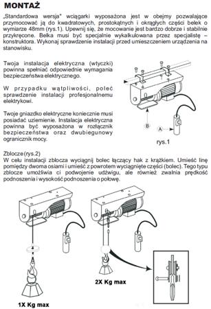 DOSTAWA GRATIS! 55951164 Wyciągarka linowa elektryczna Industrial 400/800 230V, hamulec automatyczny (udźwig: 400/800 kg) + wózek elektryczny 1T