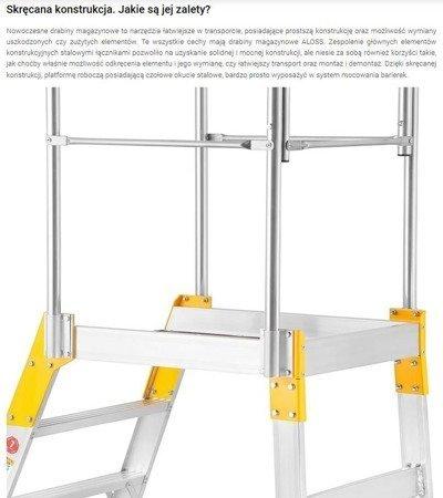 DOSTAWA GRATIS! 99674602 Drabina magazynowa - mostek jednostronny Aloss (wysokość robocza: 3,08m)