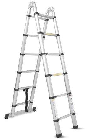 DOSTAWA GRATIS! 99674994 Drabina aluminiowa teleskopowa dwustronna + torba (wysokość robocza: 6,9m)