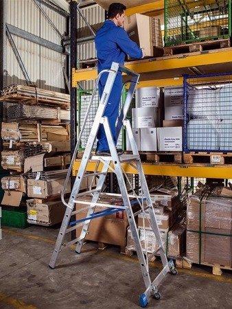 DOSTAWA GRATIS! 99675010 Drabina magazynowa KRAUSE Stabilo z dużym podestem (wysokość robocza: 3,40m)