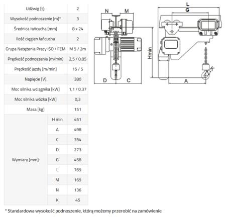 IMPROWEGLE Wciągnik łańcuchowy elektryczny ELL2 (udźwig: 2 T, wysokość podnoszenia: 3 m) 33948814