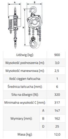 IMPROWEGLE Wciągnik łańcuchowy ze stali nierdzewnej inox SBE INOX 0,9 3m (udźwig: 900 kg, wysokość podnoszenia: 3 m) 33948574