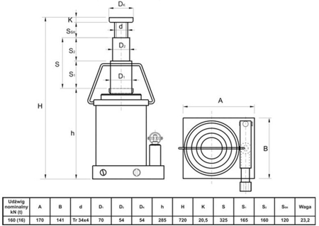 Podnośnik hydrauliczny teleskopowy - wysoki (wysokość podnoszenia min/max: 285/720mm, udźwig: 16T) 6276340