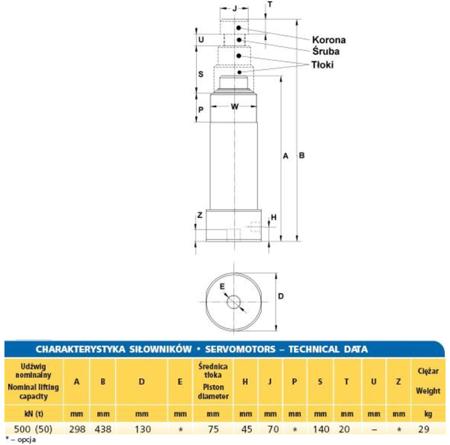 Siłownik hydrauliczny (wysokość podnoszenia min/max: 298/438mm, udźwig: 50T) 62725763