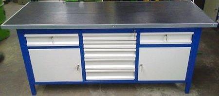 Stół warsztatowy, 2 szafki, 7 szuflad (wymiary: 2000x750x900 mm) 77156955