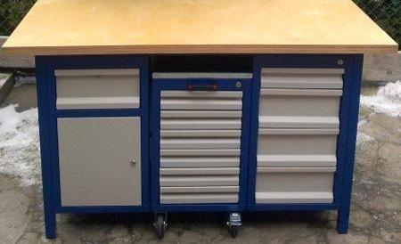 Stół warsztatowy, 5 szuflad, 1 szafka + wózek z 6 szufladami (wymiary: 1500x750x850 mm) 77156971