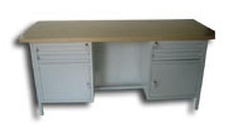 Stół warsztatowy dwustanowiskowy, 4 szuflady, 2 szafki (wymiary: 2000x750x900 mm) 77156888