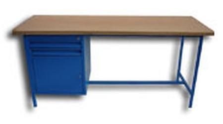 Stół warsztatowy jednostanowiskowy, drzwi, 2 szuflady (wymiary: 1500x750x900 mm) 77156839