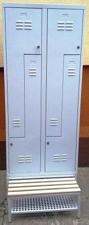 Szafa odzieżowa z przegrodami i ławką, 4 drzwi L (wymiary: 1800x800x480 mm) 77157031