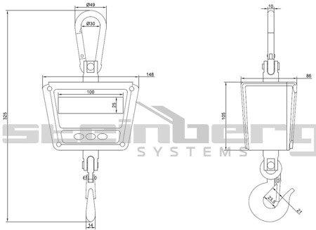 Waga hakowa Steinberg Systems LED, odporna na strumień wody (udźwig: 300 kg) 45643503
