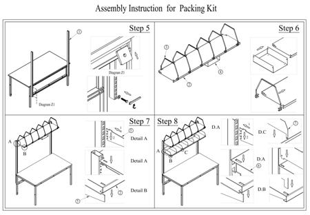 Zestaw do pakowania do stołów roboczych GermanTech, bez stołu! (szerokość cięcia: 1300 mm) 99724952